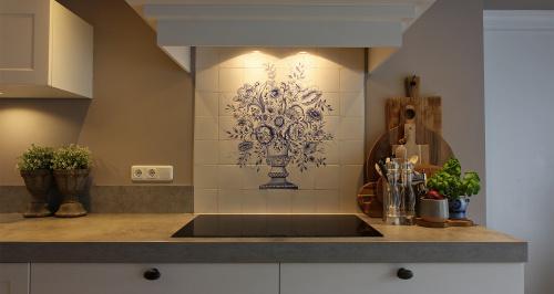 beschilderde tegels achterwand keuken delfts blaauw